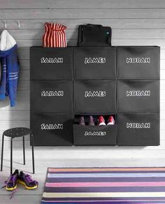 If your children come in, kick off their shoes then go about their business leaving a floor littered with mini-deathtraps, give them a no-excuses storage unit for them to help keep the space neat. From the Trones collection by Ikea.