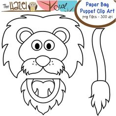 Paper Bag Puppet Clip Art  use 4 Bible story of Daniel in the lion's den.