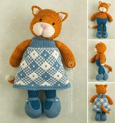This PDF pattern contains full instructions for knitting and finishing off a little cat girl in a plaid dress. The pattern includes 4 extra head designs -- a tabby cat, Siamese, cat with a blaze or an eye patch cat.The file is 20 pages long and contains over 60 detailed step-by-step photographs along with full pattern instructions and tips for stuffing, seaming and finishing neatly.The pattern is written for knitting flat on two needles and all pieces are seamed afterwards. $5.98