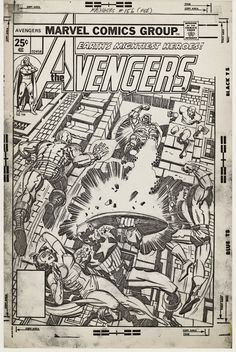Full size photocopy of Jack Kirby's pencil art for the cover to Marvel's Avengers 156 published date February Comic Book Pages, Comic Book Artists, Comic Book Covers, Comic Artist, Marvel Comic Books, Marvel Characters, Comic Books Art, Jack Kirby Art, Bd Comics