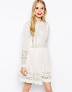 ASOS COLLECTION ASOS Skater Dress With Lace Inserts And Embroidery    | ≼❃≽ @kimludcom