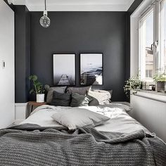 Small Master Bedroom Design with Elegant Style - MagzHome - Home bedroom - Bedding Master Bedroom Home Decor Bedroom, Gray Bedroom Walls, Home Bedroom, Bedroom Interior, Master Bedroom Design, Bedroom Design, Couple Bedroom, Small Master Bedroom, Small Bedroom
