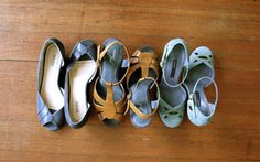 """Want to fit more shoes in your closet? Alternate each one toe-to-heel, so the pair nests together."""