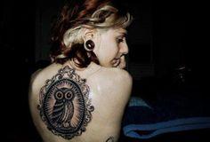 Found on tumblr- framed owl back tattoo