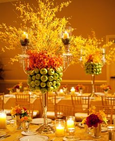 Tall Green Apple and Forsythia Centerpiece | Jennifer Lindberg Weddings | Blog.theknot.com