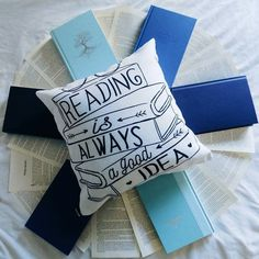 """Sometimes I feel like I won't ever be able to finish another book in my life and even if I force myself to read I keep getting distracted but there's so many books I want to read that I don't own yet so perhaps i...just need to buy some books #notyetbutsoon """"Reading is always a good idea"""" throw pillow is from @eviebookish there's still some time left for the mug sale society 6 has going on so go check it out! I posted my Peter Pan mug earlier today and the design on the mug just looks…"""