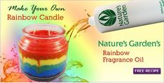 Make your own layered rainbow candle using a granulated wax by Natures Garden candle making supplies