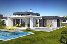 Small Modern House Plans, Modern Small House Design, Modern Villa Design, Dream Home Design, House Plans Mansion, My House Plans, Bedroom House Plans, Modern Bungalow House, Modern Mansion