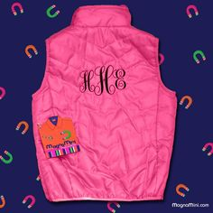 FREE MONOGRAM Pink Chevron Quilted Vest with Magnetic Closure