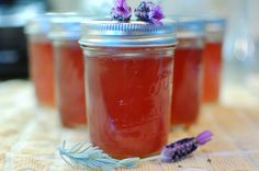 Lavender Flower Jelly - an Amazing and unique flavored jelly. Serve with cream scones, or over ice cream! Lavender Jam, Apple Jelly, Lavender Recipes, Canned Food Storage, Cream Scones, Jam And Jelly, Fruit Jam, Homemade Butter, Flower Food