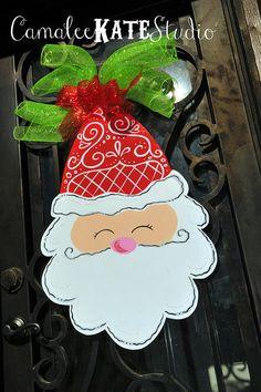 Elegant Swirl Santa Wooden Door Hanger - Personalized Free!