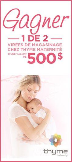 Gagnez 500 $ chez Thyme Maternité. Fin le 12 mai.  http://rienquedugratuit.ca/concours/thyme-maternite-maman/