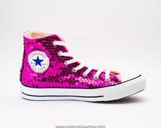 9008ff8bc19c78 Hot Fuchsia Pink Starlight Sequin Hi Top Converse® Sneakers