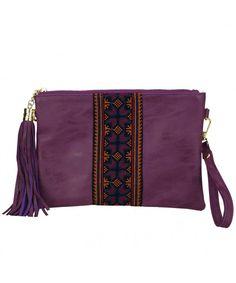4e495ee345e8 Retro Ethnic Embroidered Crossbody Hobo Bag Fringe Wristlet Purse Vintage  Gypsy Tassel Handbag-- Purple