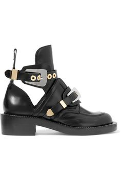 Heel measures approximately 35mm/ 1.5 inches Black glossed-leather Buckle-fastening ankle strap Made in Italy