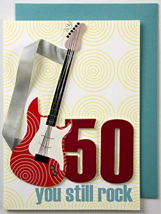 50th Birthday Card with Rock Theme   MonsterMarketplace.com