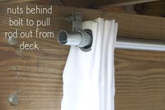 How to Hang Outdoor Curtains & DIY Outdoor Curtain Rods Hanging Outdoor Curtains. Great DIY tutorial using aluminum fence poles in place of expensive outdoor drapery rods. Deck Curtains, Outdoor Curtains For Patio, Outdoor Rooms, Outdoor Living, Patio Privacy, Pergola Drapes, Burlap Curtains, Pergola Lighting, Grommet Curtains