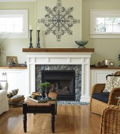 This fireplace surround is perfect! Love the wood mantle against the painted surround. I would use slate tiles. Need someone to build this!!