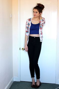 F&F Rose Print Cardigan, H&M Cropped Vest, H&M High Waisted Jeans, Clarks Brown Loafers