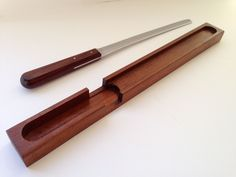 "Bread knife ""Veri-Sharp Deluxe"" by Imperial with rosewood handle and teak holder by FromThenOn on Etsy"