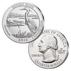 "USA Quarter Dollar (0,25 Dollar) 2015 ""Bombay Hook National Wildlife Refuge"", 999er Silber, 155,5 Gramm (5 Unzen), Durchmesser 76,20mm"