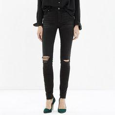$128 High Riser Skinny Skinny Cut-Edge Jeans in Black Sea #madewell