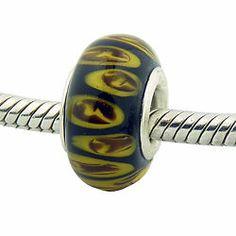 Tigers Eye Black Yellow Bead .925 Silver Murano Glass Charm for Charm Bracelets