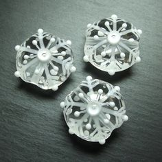 Lampwork glass 'Snowflake' beads by Laura Sparling