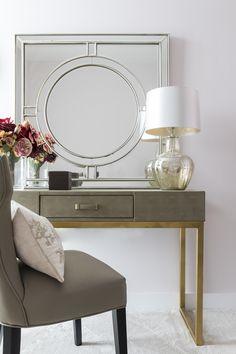 Feminine and elegant dressing room in luxury London apartment.