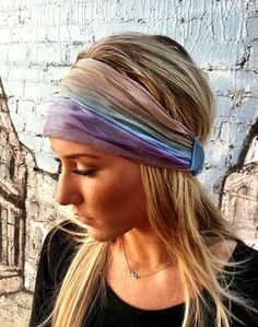 Stretch Mesh Headband Head Wrap  Tie Dye Women's by ThreeBirdNest,