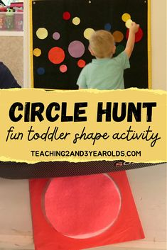 Looking for a way to introduce shapes? This toddler circle activity involves moving around the room, finding hidden circles, and placing them on the felt board. Hands-on fun! #toddlers #circles #shapes #activity #largemotor #teaching2and3yearolds Toddler Fine Motor Activities, Preschool Games, Learning Activities, Toddler Circle Time, Circle Time Activities, Teaching Shapes, Time Planner, Learning Through Play, Circles