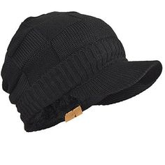 55d8386b06ecf Mens Fleece Cable Knit Winter Beanie Visor Hat Oversized  fashion  clothing   shoes