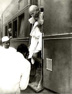 Mahatma Gandhi at the Railway station in the early 1940s
