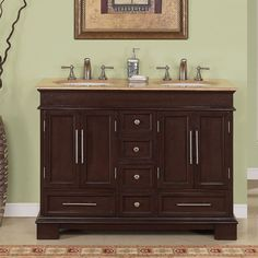 <li>Type: Bathroom Double Sink Cabinet Vanity </li>  <li>Materials: Natural Stone, Solid Wood Structure and CARB Ph2 Certified Plywood andMDF Panels, Ceramic Sink</li>  <li>Hardware finish: Brushed Chrome</li>