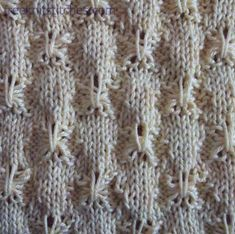 """#Knitting_Stitches - """"This lovely stitch mimics Tuck stitch on a knitting machine. The stitch is labeled """"Tick"""" knitting at the website, but it should say """"Tuck"""" knitting. Make sure you pull that big loopy stitch up loosely enough or you'll have """"pucker"""" knitting! Clear chart is given."""" comment via #KnittingGuru"""