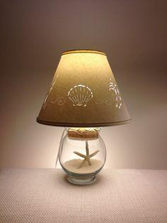 Small Fillable Seashell Lamp-Small Lamp-Fillable Lamp-Seashell Lamp-Add your own Seashells-Small lamp shade-Fillable-Glass-Paper Lamp shade