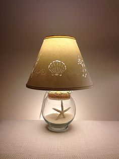 Small Fillable Seashell Lamp-Small Lamp-Fillable Lamp-Seashell Lamp-Add your own Seashells-Small lamp shade-Fillable-Glass-Paper Lamp shade