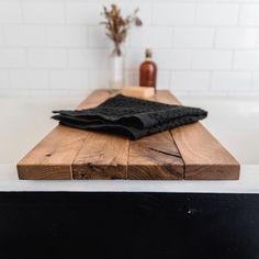 Sustainable Wood Bath Tray in Oak, Natural Bath Caddy, Rustic Bathroom Organization, Bathtub Tray, Minimalist Shelf by Peg and Awl Wood Bath Tray, Wood Tub, Wood Bathtub, Bathtub Tray, Bathtub Caddy, Bathroom Tray, Bathroom Ideas, Master Bathroom, Wooden Bathroom