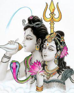 Shiva and Parvati - Laminated Poster - Hindu Posters (Laminated Poster - Unframed) Shiva Parvati Images, Shiva Shakti, Shiva Linga, Arte Krishna, Saraswati Goddess, Durga Maa, Lord Ganesha Paintings, Ganesh Wallpaper, Shiva Art