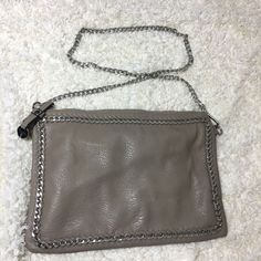b85cebcca07d7 Vimoda vegan leather Silver chain link purse taupe