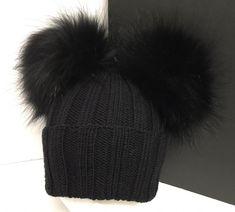 1757bdc418439 Ribbed Black Wool Beanie Hat - Raccoon Fur Pom Poms - Double Two Pom Pom Hat