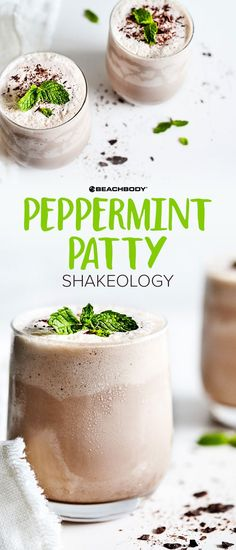 Refreshing peppermint, creamy vanilla, and craveable chocolate come together in this healthy smoothie version of a Peppermint Patty.  Peppermint Patty Shakeology // healthy recipes // shakeology recipes // drinks // beverages // chocolate // vanilla // mint //snacks // desserts // smoothies // shakes // Beachbody //
