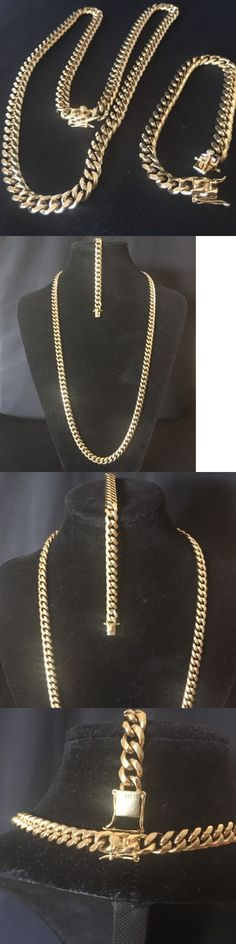 Chains Necklaces and Pendants 137839: 14K Gold Plated Cuban Link Chain Bracelet Set Stainless Steel 8Mm Wont Fade -> BUY IT NOW ONLY: $79.95 on eBay!