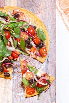 Socca Pizza with Greek Salad