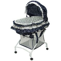 Dream on Me 2-in-1 Bassinet to Cradle, Navy/White