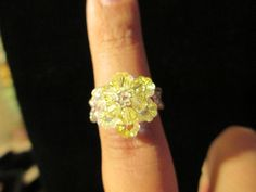 Swarovski Crystal Ring  yellow over AB clear size 657 by jsdd, $10.00
