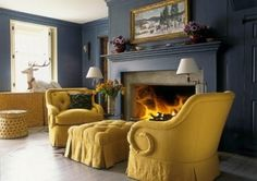 Mustard and blue-gray are a perfect match