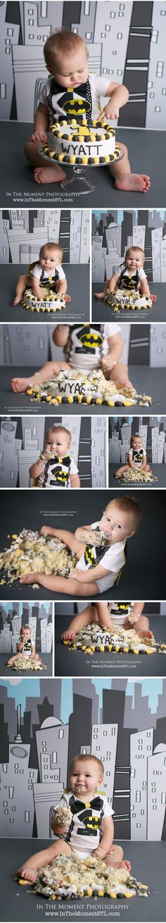 Batman First Birthday Cake Smash by In The Moment Photography