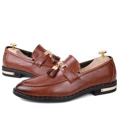 US $29 Designer Brand Casual Wedding Party Dress Genuine Leather Flats Shoe Oxfords Tassel Loafers Male Business Shoe Luxury Brand