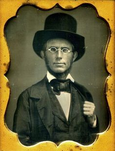 Bespectacled Gent posing for his Portrait - Ninth Plate Daguerreotype taken in the US - Sharp!